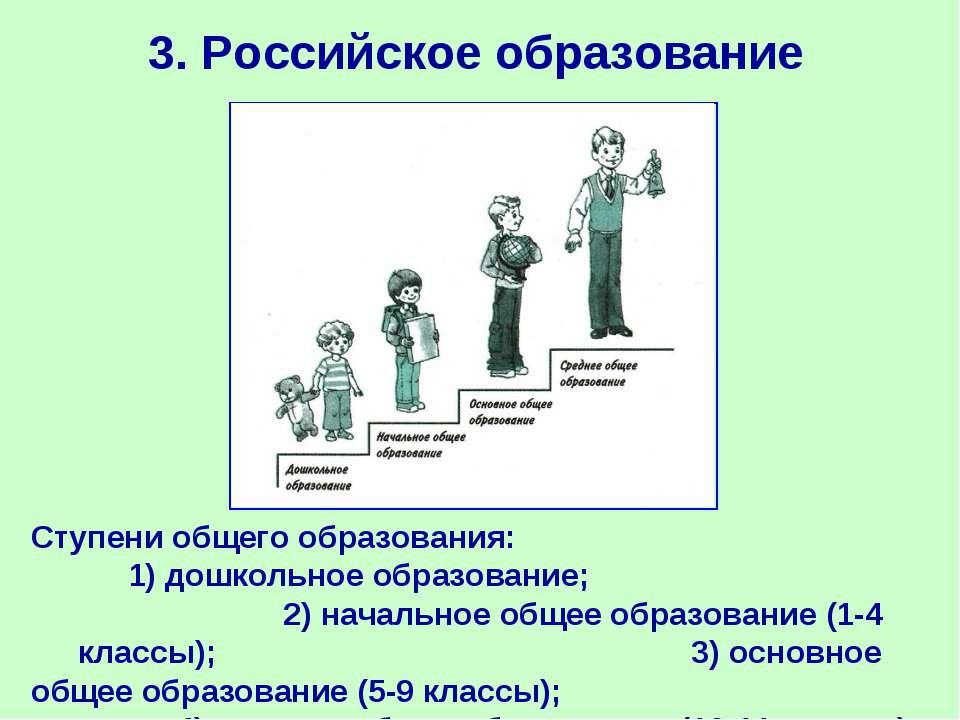 3. Российское образование Ступени общего образования: 1) дошкольное образован...