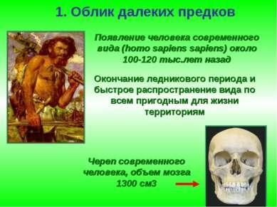 1. Облик далеких предков Череп современного человека, объем мозга 1300 см3 По...