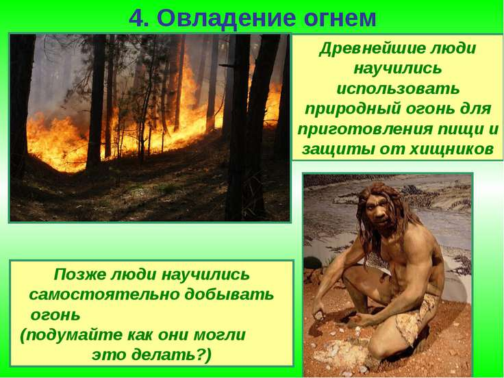 4. Овладение огнем Древнейшие люди научились использовать природный огонь для...