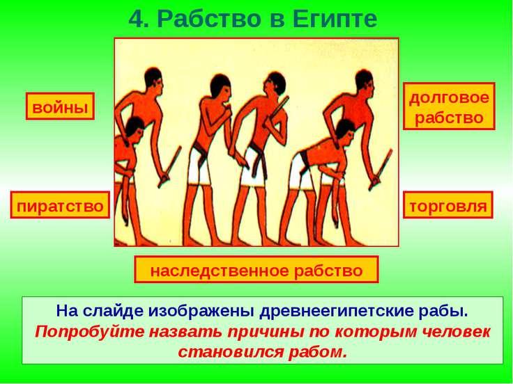 4. Рабство в Египте На слайде изображены древнеегипетские рабы. Попробуйте на...