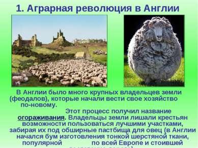 1. Аграрная революция в Англии В Англии было много крупных владельцев земли (...