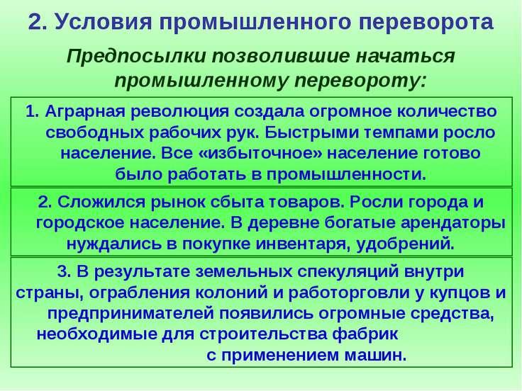 2. Условия промышленного переворота Предпосылки позволившие начаться промышле...