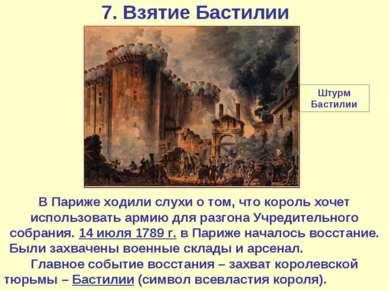 7. Взятие Бастилии В Париже ходили слухи о том, что король хочет использовать...