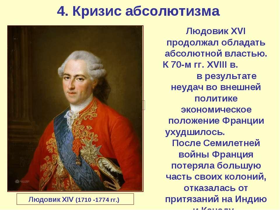 4. Кризис абсолютизма Людовик XIV (1710 -1774 гг.) Людовик XVI продолжал обла...