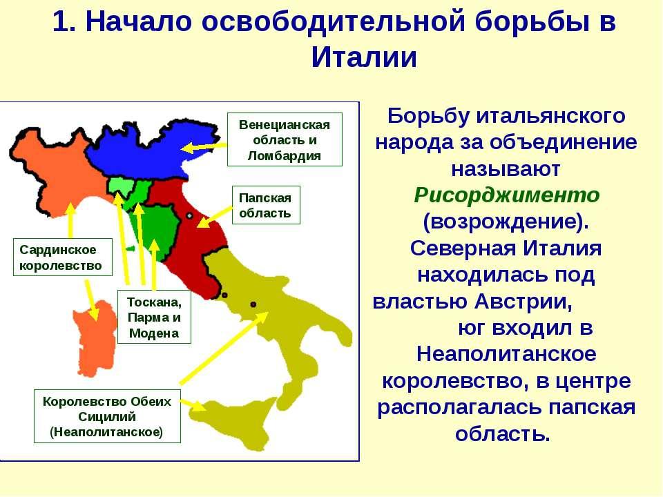 1. Начало освободительной борьбы в Италии Борьбу итальянского народа за объед...