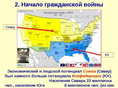 2. Начало гражданской войны Экономический и людской потенциал Союза (Север) б...