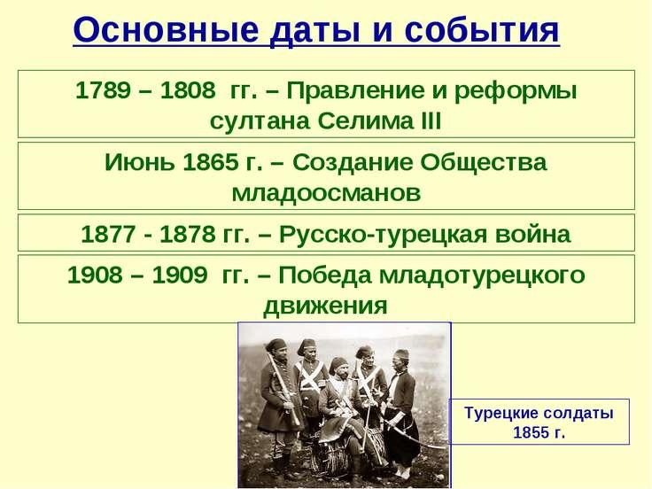 Основные даты и события 1789 – 1808 гг. – Правление и реформы султана Селима ...