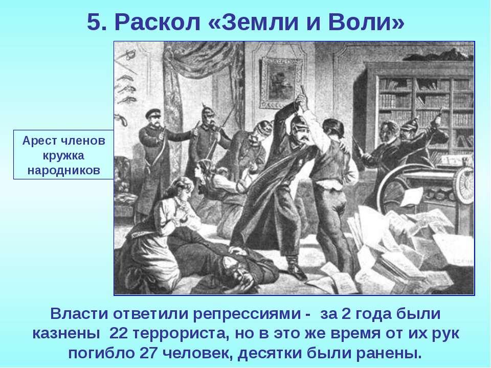 5. Раскол «Земли и Воли» Власти ответили репрессиями - за 2 года были казнены...
