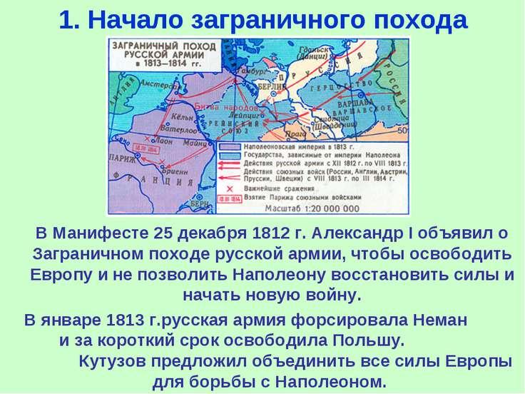1. Начало заграничного похода В Манифесте 25 декабря 1812 г. Александр I объя...