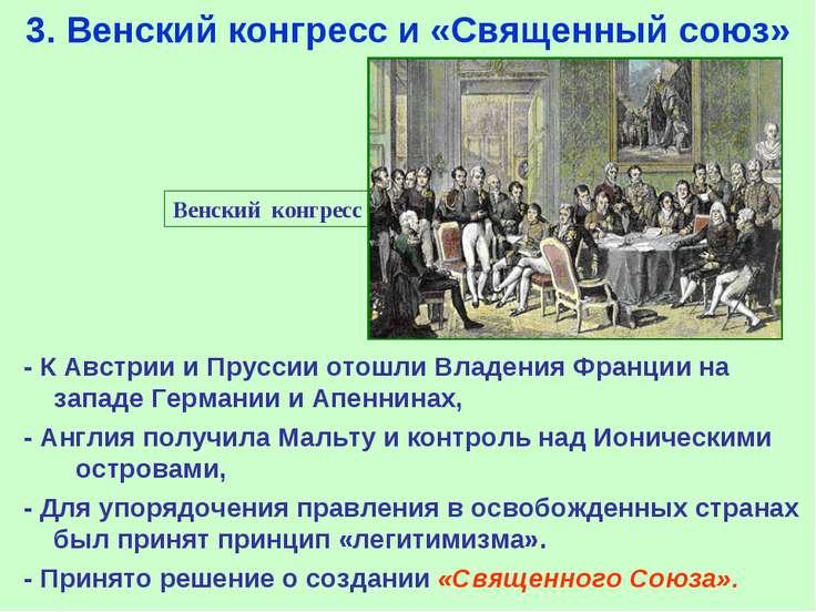 3. Венский конгресс и «Священный союз» Венский конгресс - К Австрии и Пруссии...