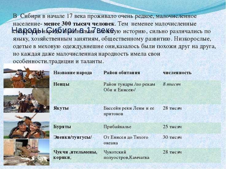 Народы Сибири в 17веке В Сибири в начале 17 века проживало очень редкое, мало...