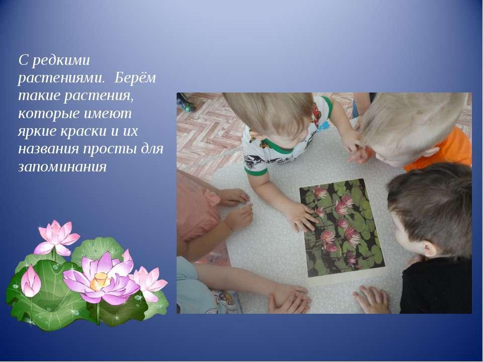 С редкими растениями. Берём такие растения, которые имеют яркие краски и их н...