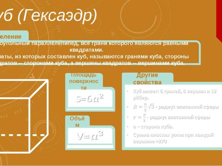 Куб (Гексаэдр) Прямоугольный параллелепипед, все грани которого являются равн...