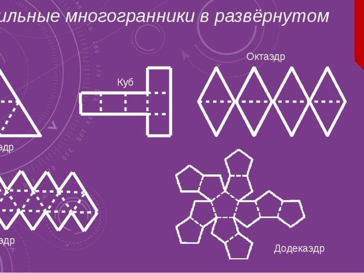 Правильные многогранники в развёрнутом виде. Тетраэдр Куб Октаэдр Икосаэдр До...