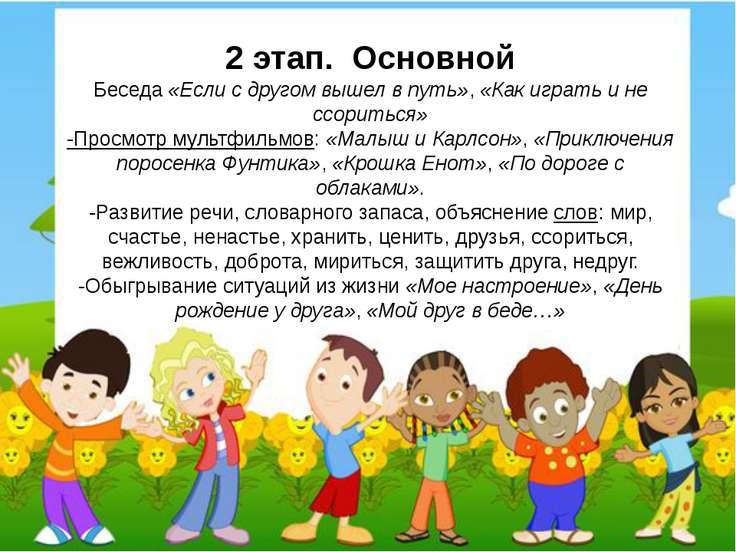 2 этап. Основной Беседа«Если с другом вышел в путь»,«Как играть и не ссори...