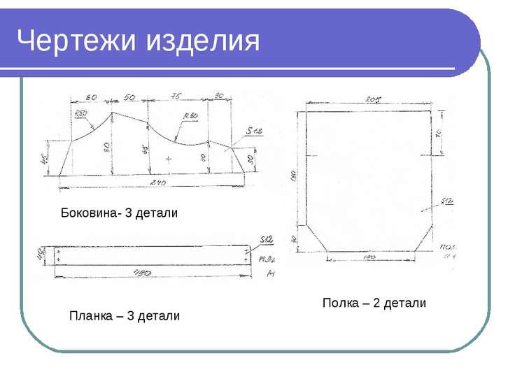 Чертежи изделия Боковина- 3 детали Полка – 2 детали Планка – 3 детали