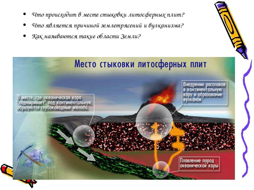 Что происходит в месте стыковки литосферных плит? Что является причиной земле...