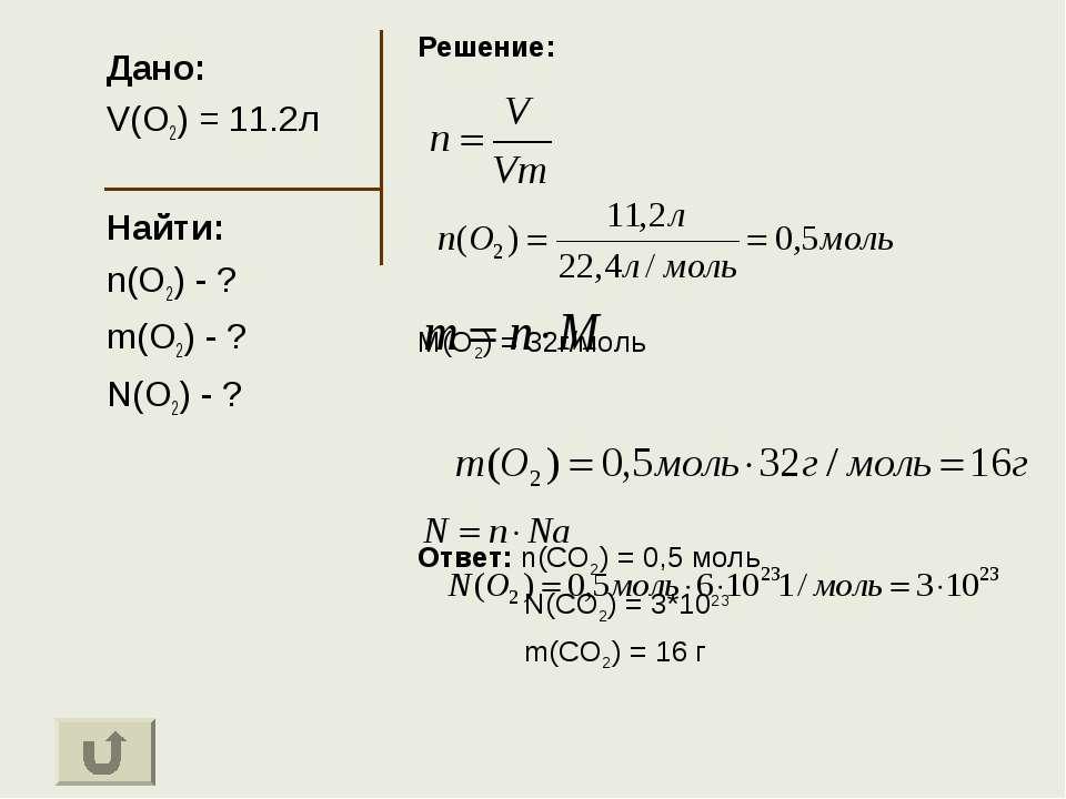 Дано: V(O2) = 11.2л Найти: n(O2) - ? m(O2) - ? N(O2) - ? Решение: M(O2) = 32г...