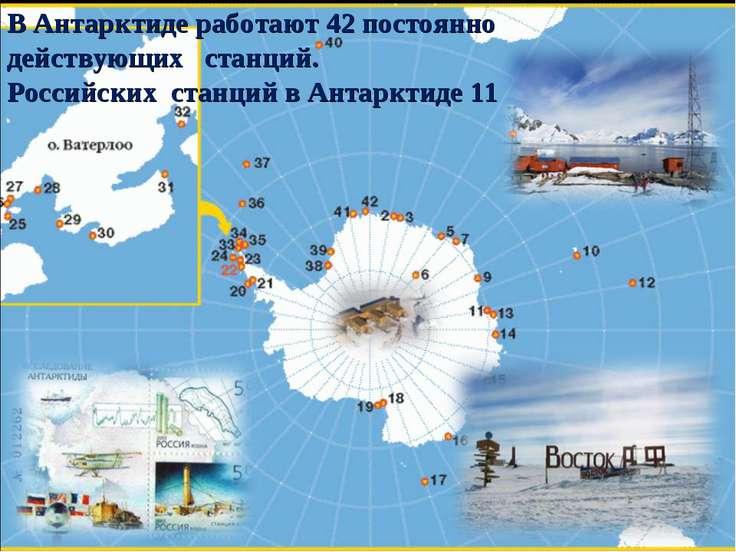 В Антарктиде работают 42 постоянно действующих станций. Российских станций в ...