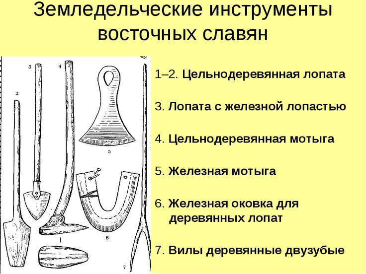 Земледельческие инструменты восточных славян 1–2. Цельнодеревянная лопата 3. ...