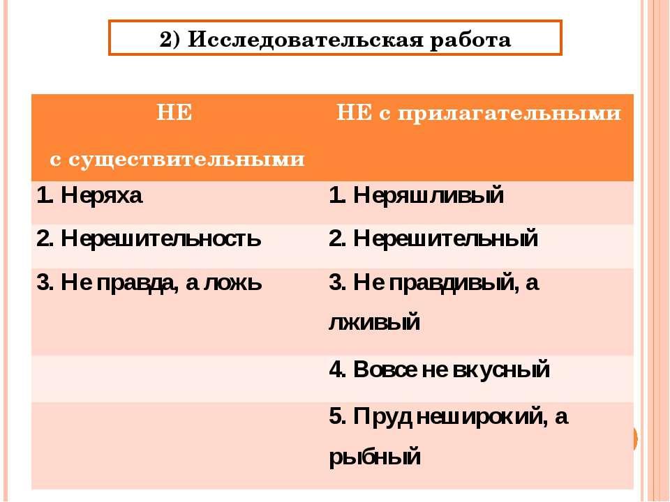 2) Исследовательская работа НЕ с существительными НЕ с прилагательными 1. Нер...