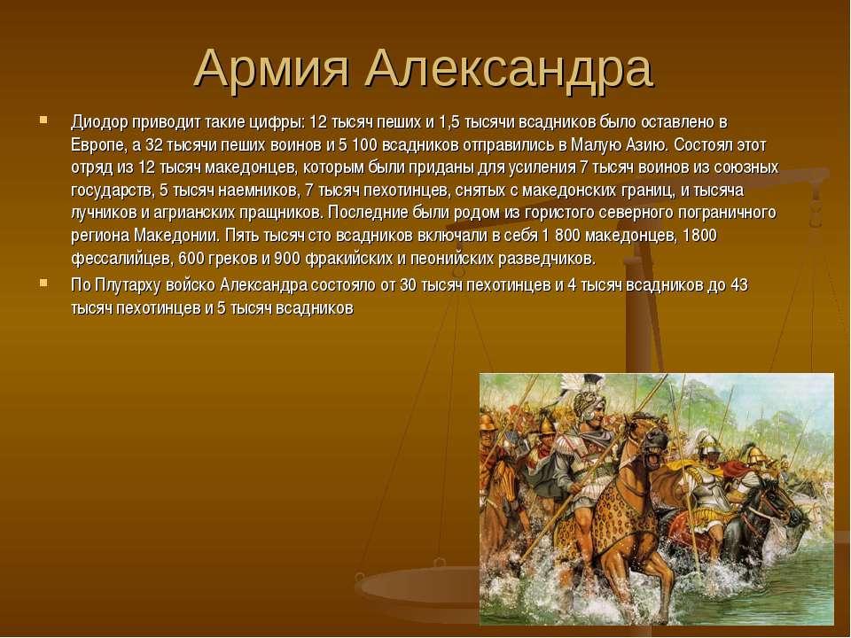 Армия Александра Диодор приводит такие цифры: 12 тысяч пеших и 1,5 тысячи вса...