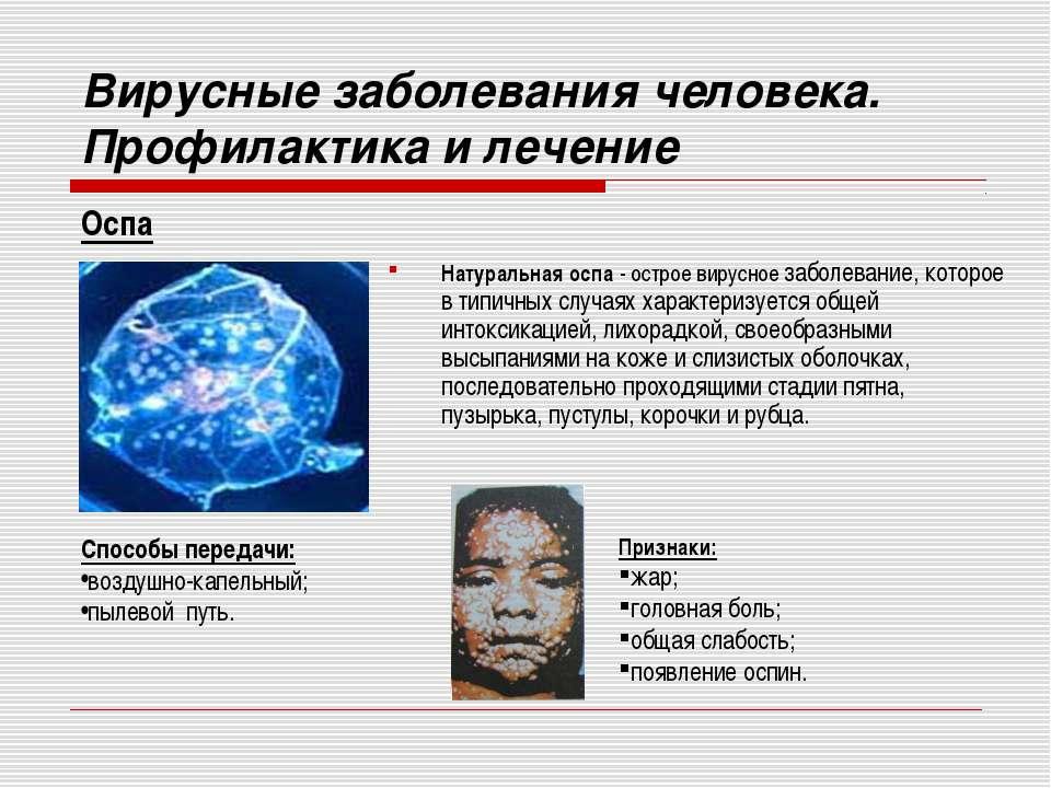 Вирусные заболевания человека. Профилактика и лечение Натуральная оспа - остр...
