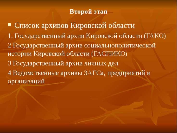 Второй этап Список архивов Кировской области 1. Государственный архив Кировск...