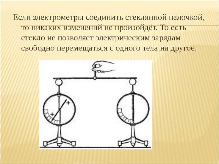 Если электрометры соединить стеклянной палочкой, то никаких изменений не прои...