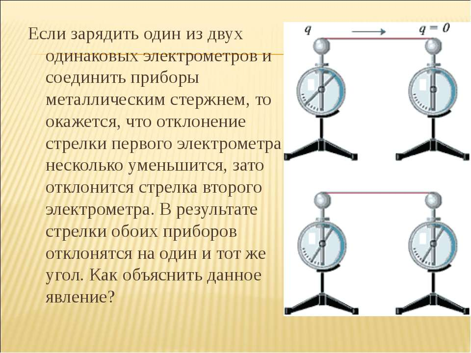 Если зарядить один из двух одинаковых электрометров и соединить приборы метал...