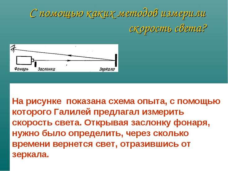 С помощью каких методов измерили скорость света? На рисунке показана схема оп...