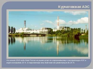 Курчатовская АЭС На начало 2010 года доля России на рынке услуг по строительс...