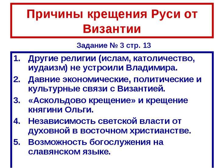 Причины крещения Руси от Византии Другие религии (ислам, католичество, иудаиз...