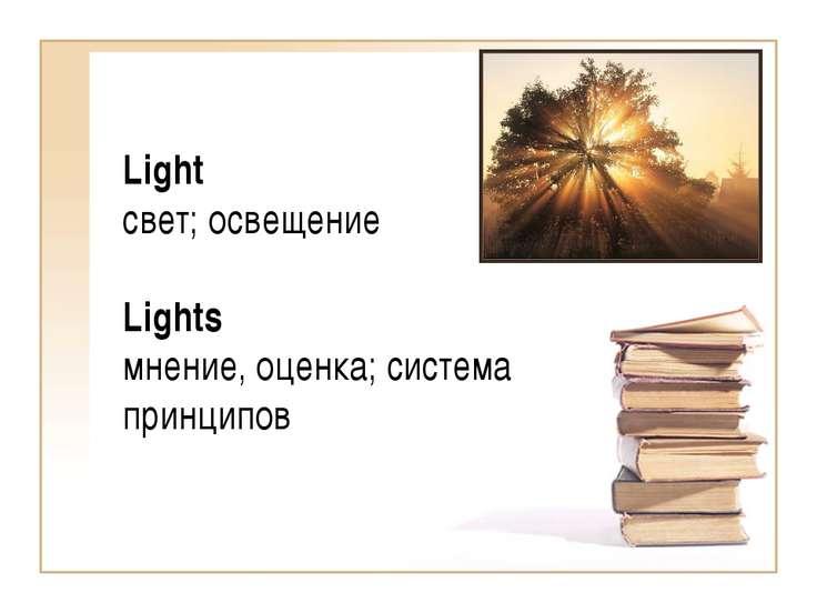 Light свет; освещение Lights мнение, оценка; система принципов