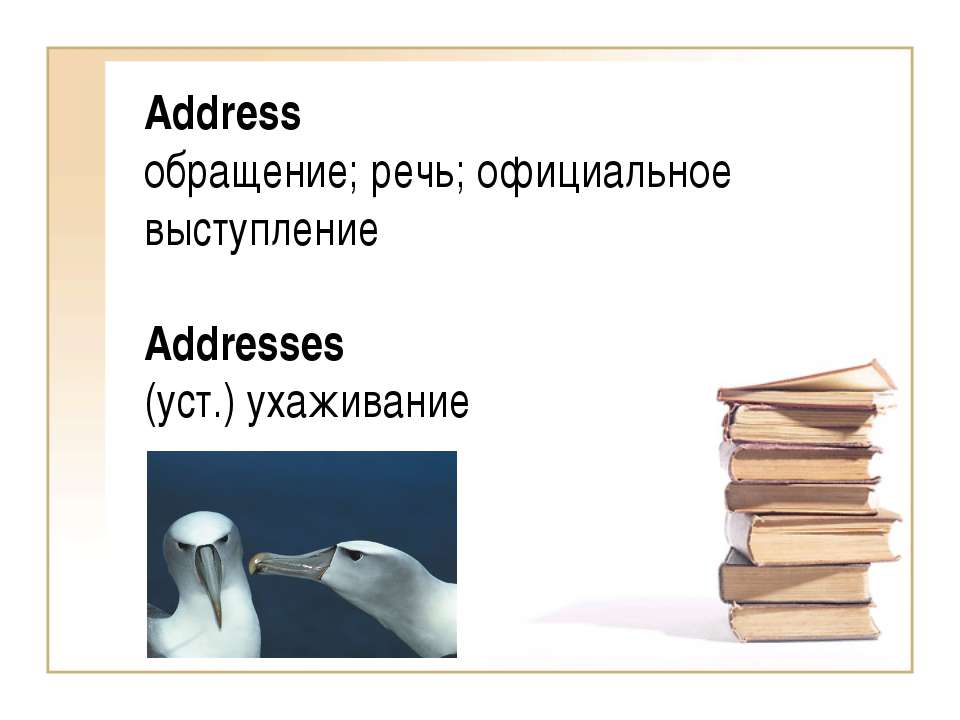 Address обращение; речь; официальное выступление Addresses (уст.) ухаживание