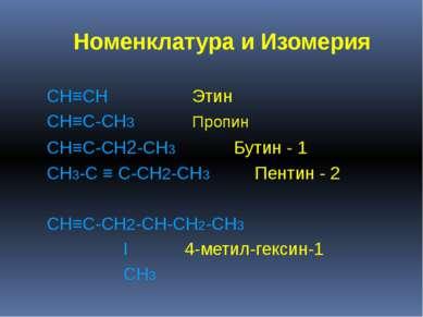 Номенклатура и Изомерия CH≡CH Этин CH≡C-CH3 Пропин CH≡C-CH2-CH3 Бутин - 1 CH3...