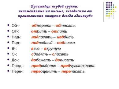 Приставки первой группы, неизменяемые на письме, независимо от произношения п...
