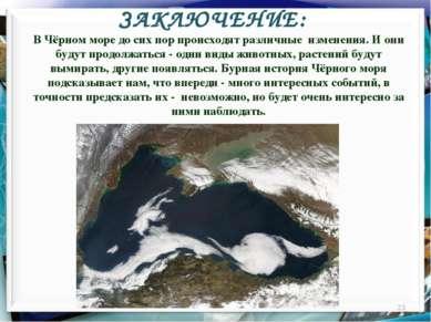 ЗАКЛЮЧЕНИЕ: * В Чёрном море до сих пор происходят различные изменения. И они ...