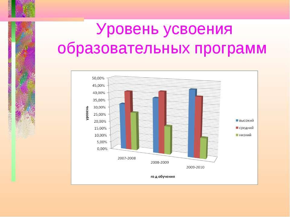 Уровень усвоения образовательных программ