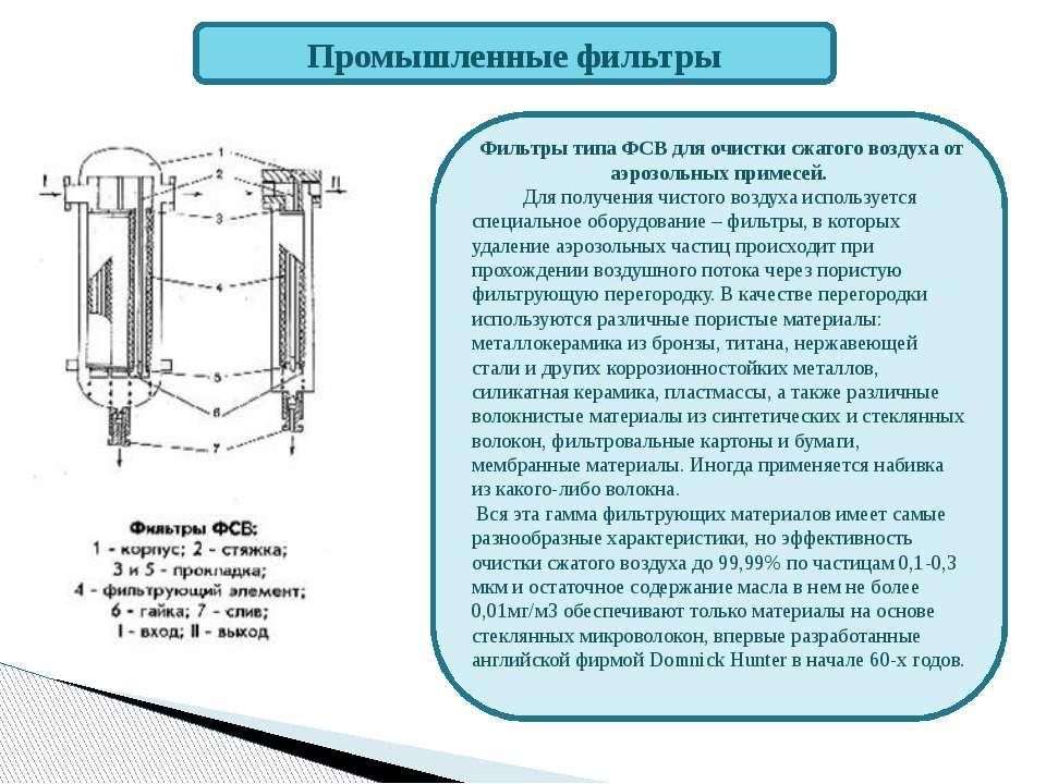 Промышленные фильтры Фильтры типа ФСВ для очистки сжатого воздуха от аэрозоль...