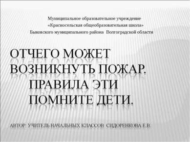 Муниципальное образовательное учреждение «Красносельская общеобразовательная ...