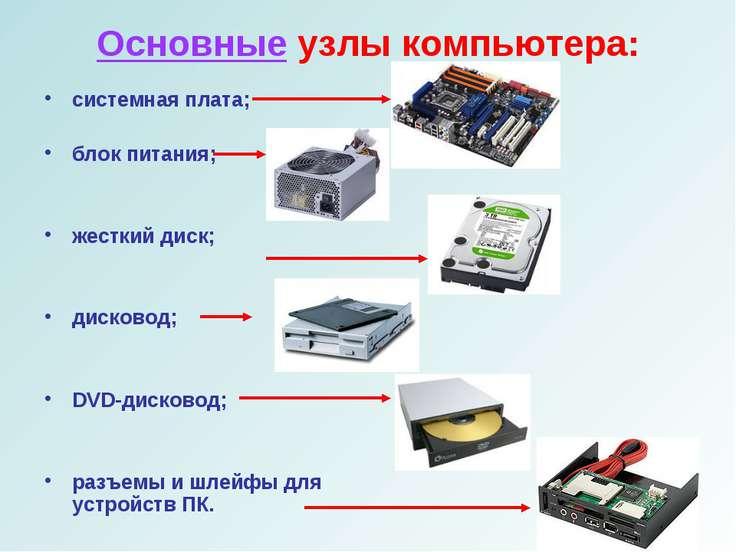 Основные узлы компьютера: системная плата; блок питания; жесткий диск; дисков...