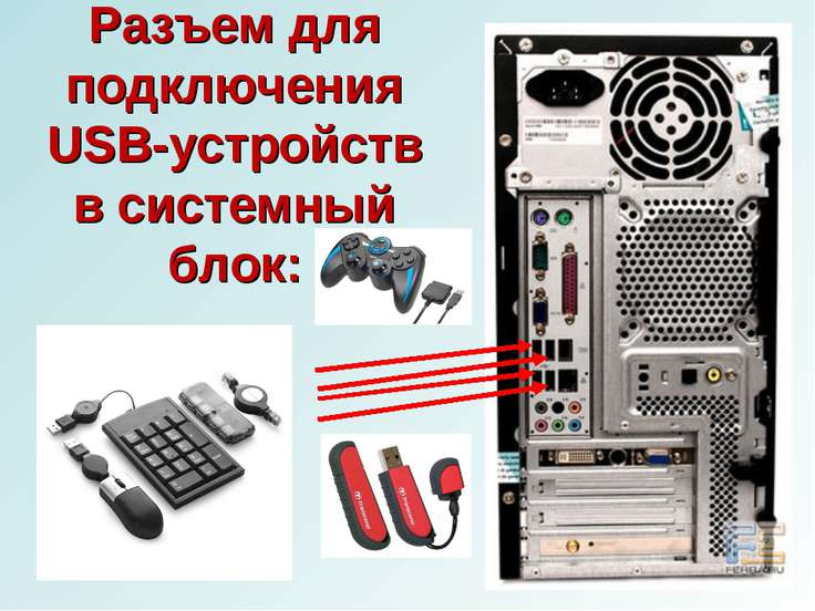 Разъем для подключения USB-устройств в системный блок: