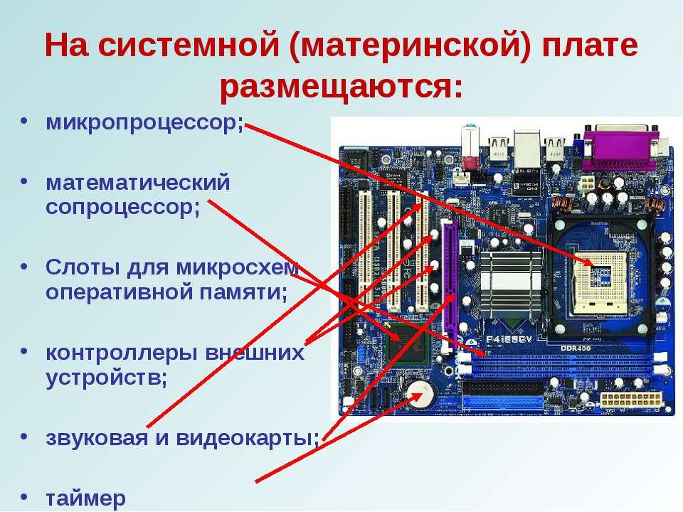 На системной (материнской) плате размещаются: микропроцессор; математический ...