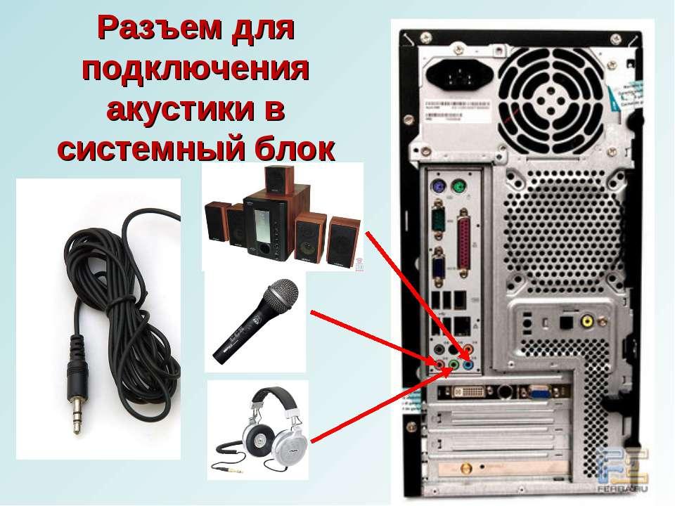 Разъем для подключения акустики в системный блок