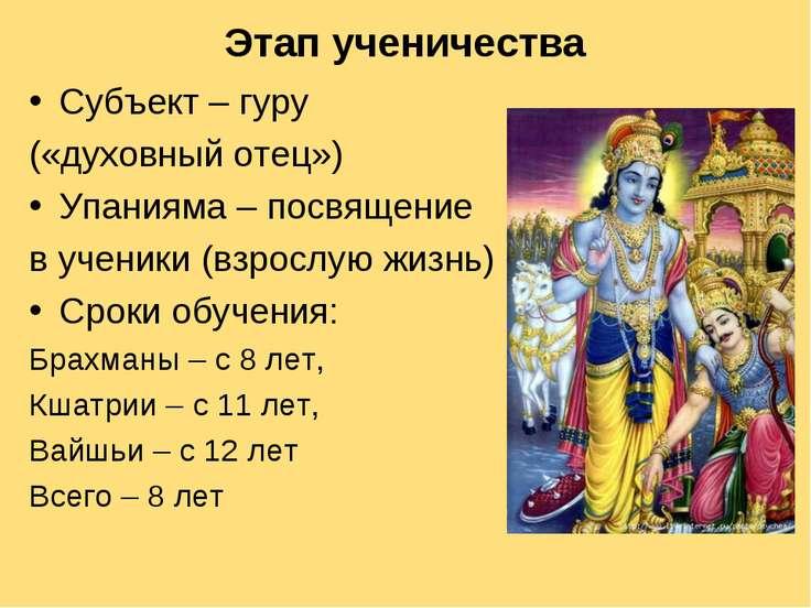 Этап ученичества Субъект – гуру («духовный отец») Упанияма – посвящение в уче...