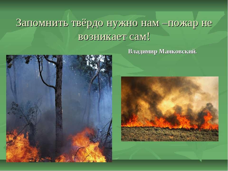 Запомнить твёрдо нужно нам –пожар не возникает сам! Владимир Маяковский.