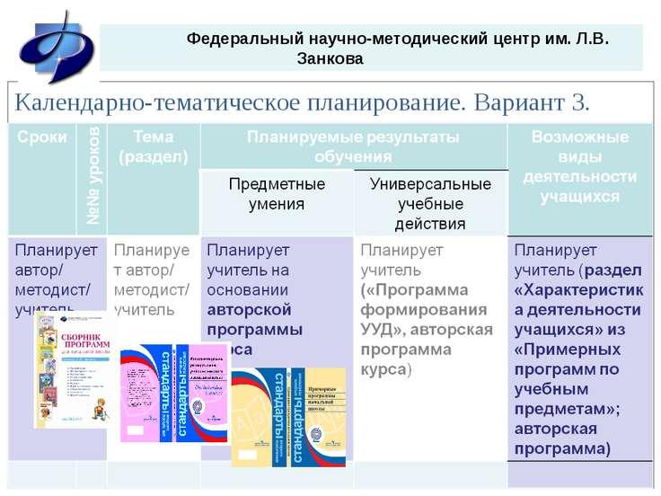 Федеральный научно-методический центр им. Л.В. Занкова Календарно-тематическо...