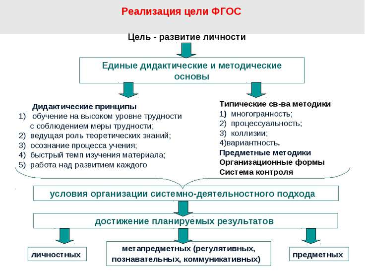 Реализация цели ФГОС Цель - развитие личности Единые дидактические и методиче...