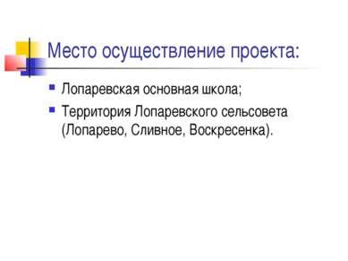 Место осуществление проекта: Лопаревская основная школа; Территория Лопаревск...